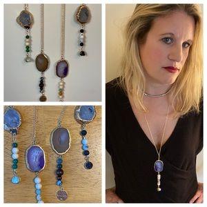 Jewelry - Stone - Agate & Druzy Chakra Diffuser Necklace